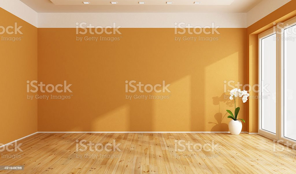 Camera vuota arancione - foto stock