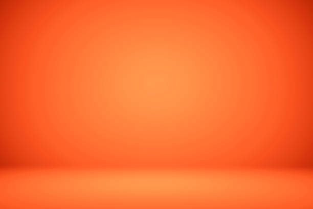empty orange studio room, used as background for display your products - возвышенность стоковые фото и изображения