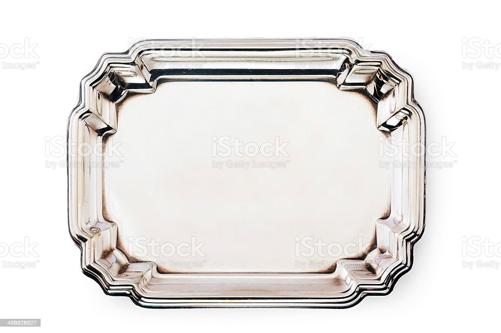 Empty ornate silver tray isolated on a white background stock photo