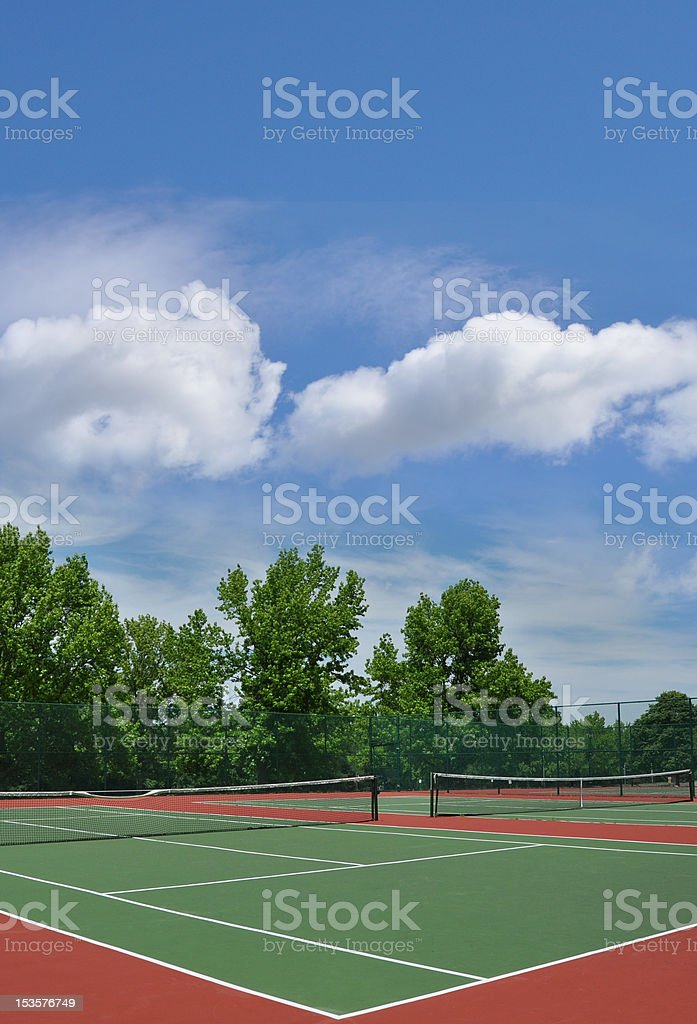 Empty Outdoor Tennis Court royalty-free stock photo