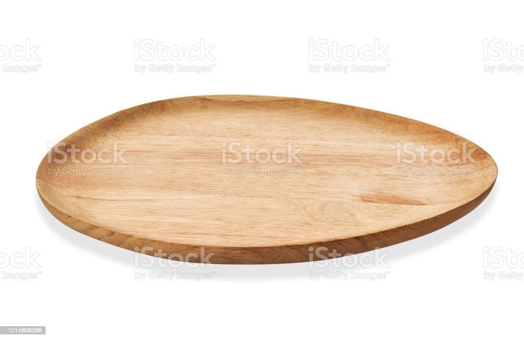 Lege ovaal houten lade, ovale natuurlijke houten bord, dienblad geïsoleerd op een witte achtergrond met uitknippad - Royalty-free Apparatuur Stockfoto