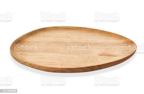 Lege Ovaal Houten Lade Ovale Natuurlijke Houten Bord Dienblad Geïsoleerd Op Een Witte Achtergrond Met Uitknippad Stockfoto en meer beelden van Apparatuur