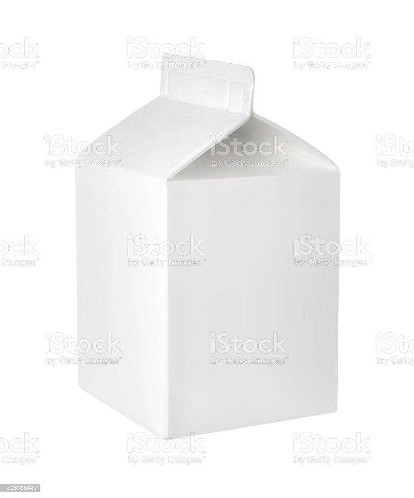 Vide paquet de lait ou de jus de fruits sur fond blanc - Photo