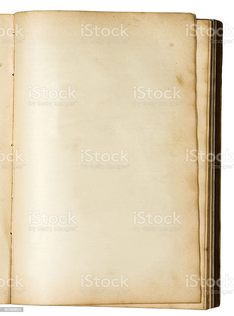 Empty page of a very old book royalty-free stock photo