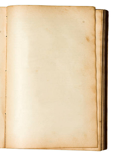 Empty page of a very old book stock photo