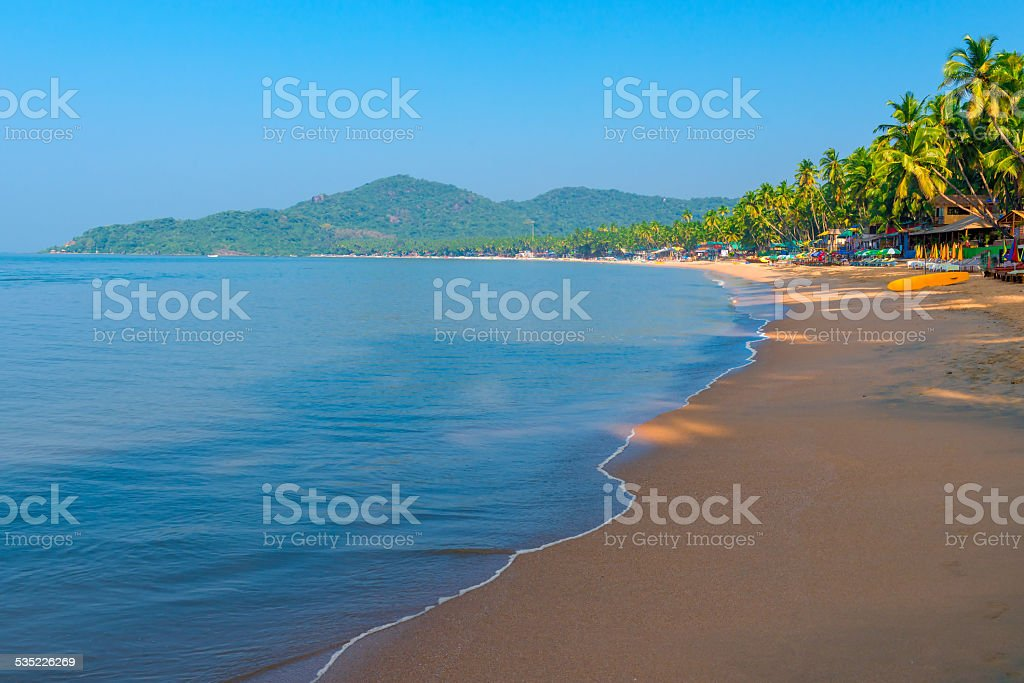empty Palolem Beach during the morning hours stock photo