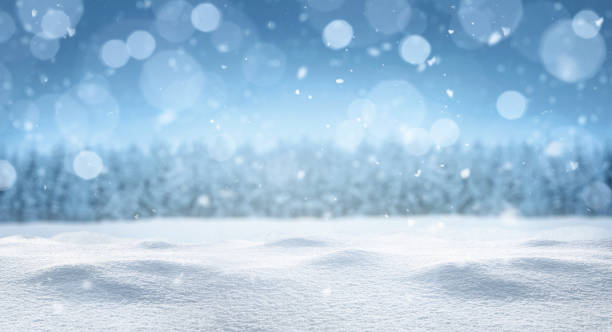 empty panoramic winter background - snowflake background stock pictures, royalty-free photos & images