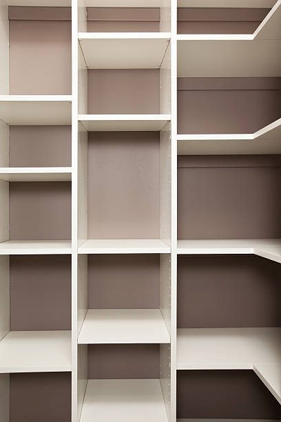Empty Pantry Or Closet Storage Cubbies Stock Photo