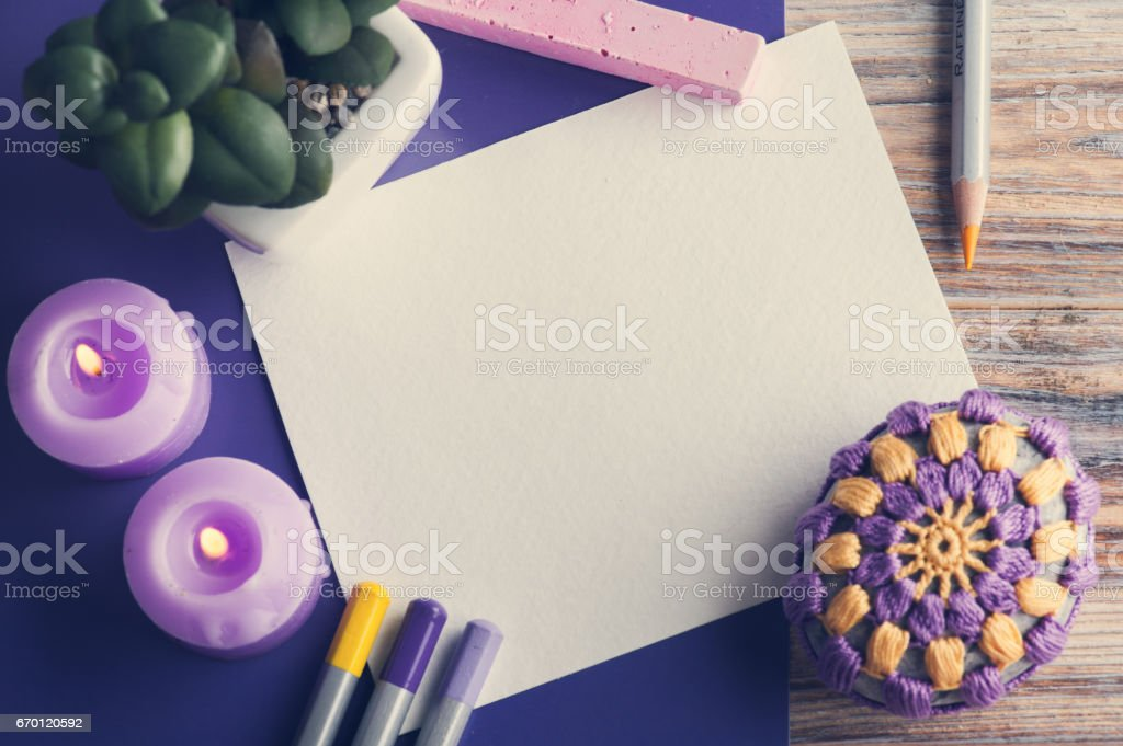 empty paper and colorful pencils stock photo