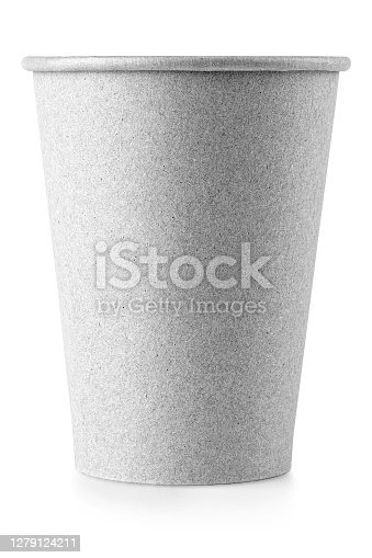 The empty paper coffee cup on white background