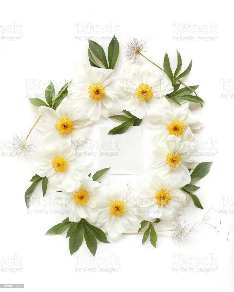 Empty Paper In The Middle Of Floral Wreath Frame Made Of White Peony