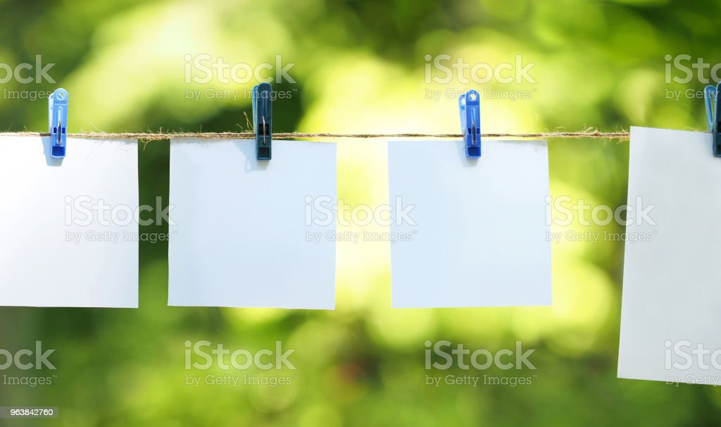 Empty paper sheet frames hanged by colored clothespins on green leaves nature  background. Blank cards on rope. Mock up for display of design, memo backdrop. Pieces of paper, posters. Ecology concept - Royalty-free Abstract Stock Photo