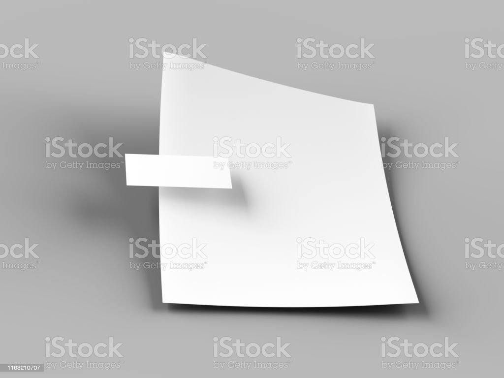 Empty paper sheet in A4 format with bussines card. 3d illustration