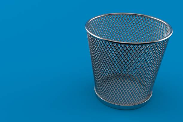 Empty paper trash can stock photo