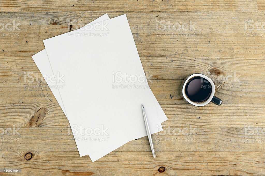 Empty paper with pencil and coffe on the table stock photo