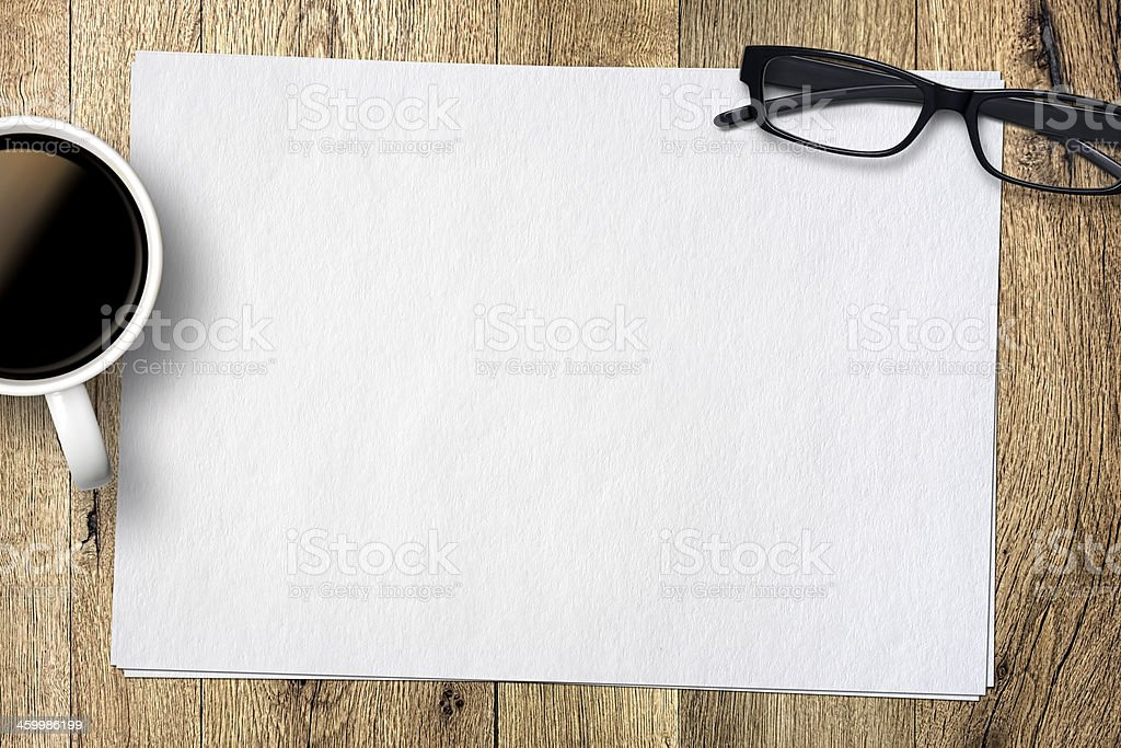 Empty Papers On Table stock photo