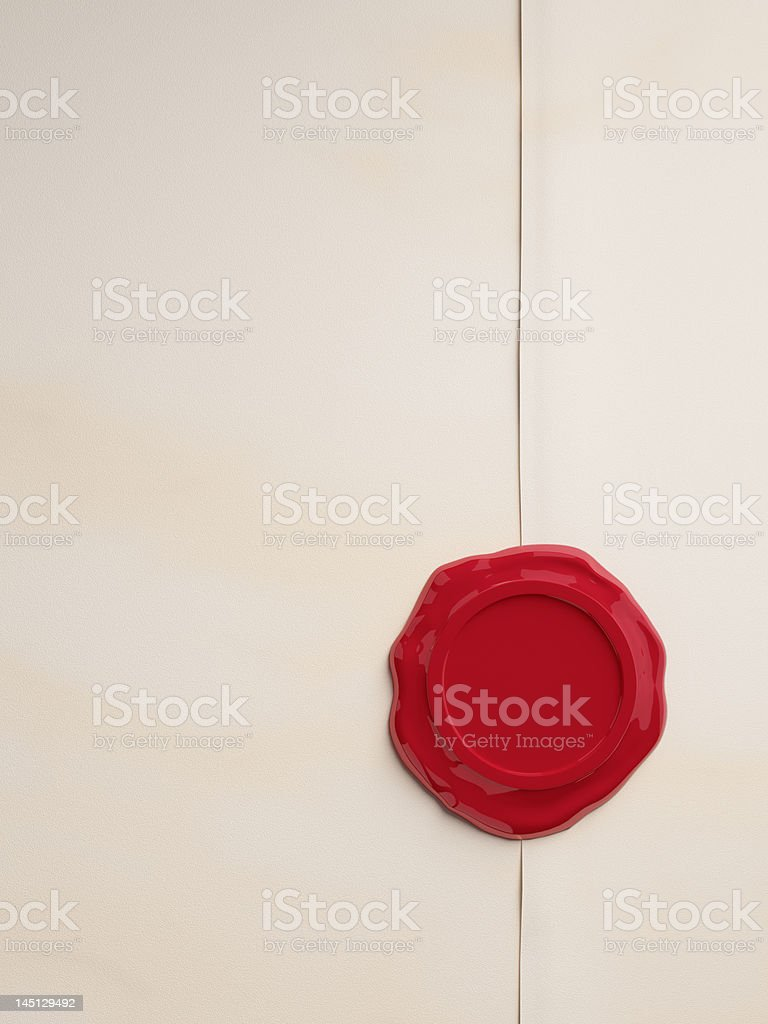 Empty parchment with red wax seal stock photo