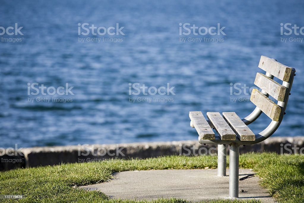 Empty park bench in garden with water background royalty-free stock photo