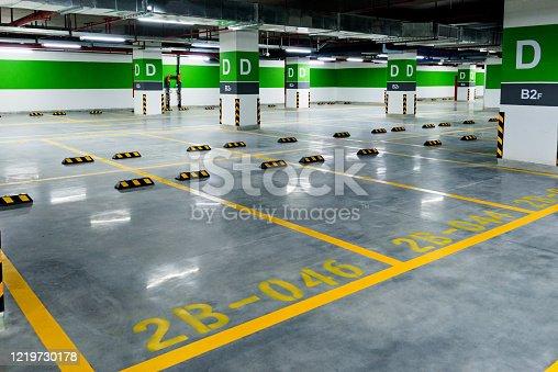 Empty parking garage in hospital.