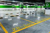 istock Empty parking garage in hospital 1219730178
