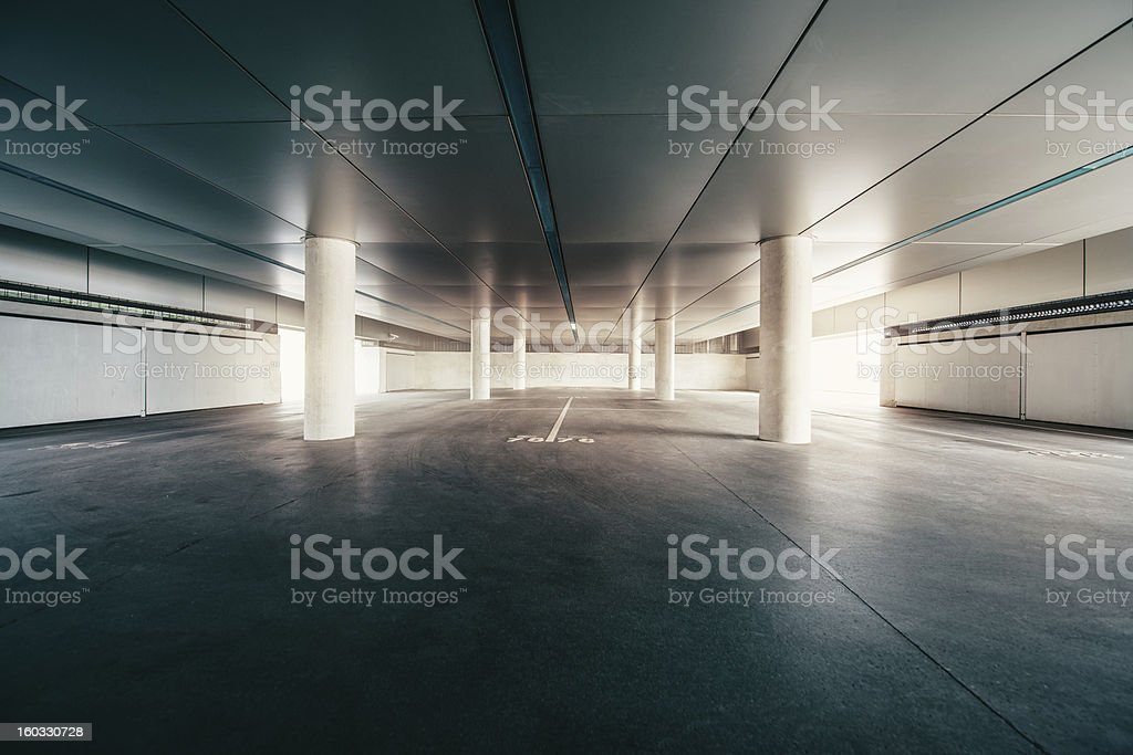 Empty Parking Garage stock photo