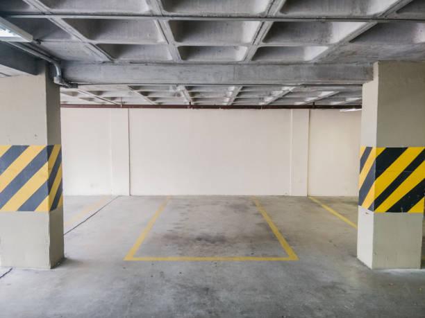 Empty parking garage priority parking spot stock photo