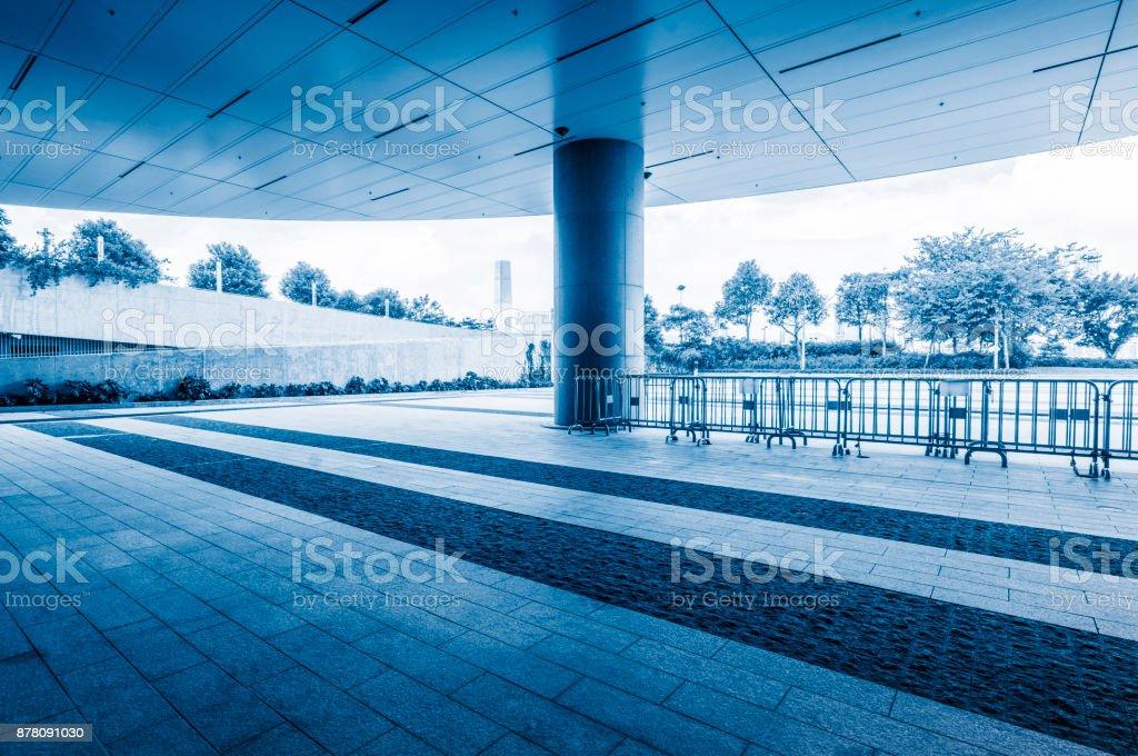 empty parking garage,blue toned stock photo