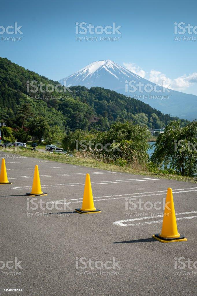 Empty parking lot at kawaguchiko lake royalty-free stock photo