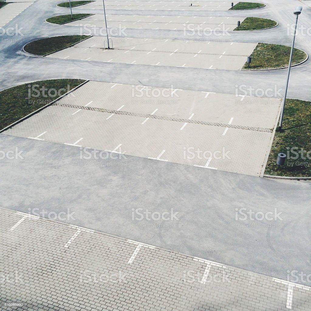 Empty parking lot in Berlin, Germany stock photo