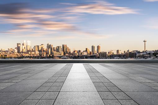 empty tiled floor on foreground,Seattle,Washington state,United States.