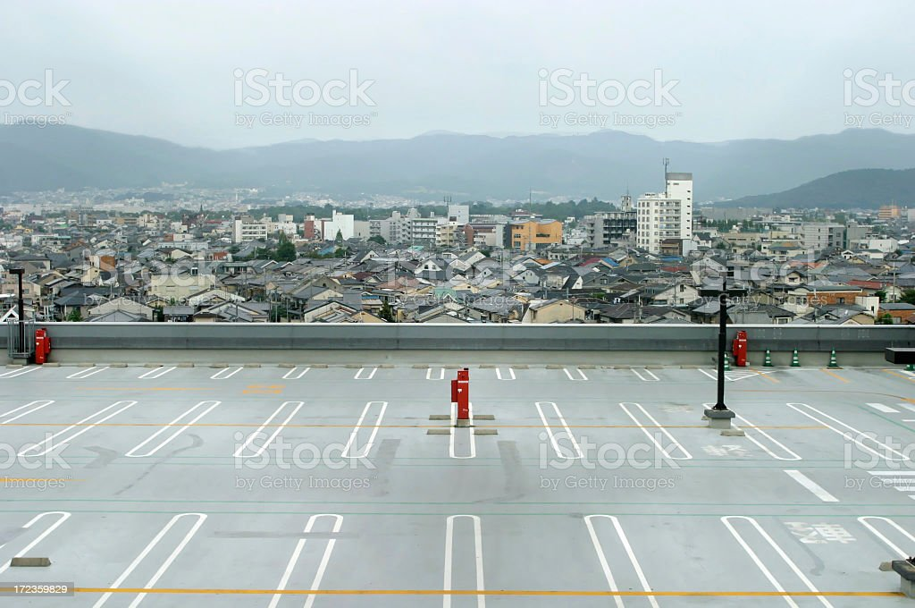 Empty Parking Lot, Skyline In Background royalty-free stock photo
