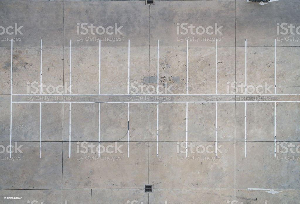 Vide places de stationnement, vue aérienne. - Photo