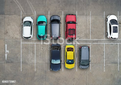 istock Empty parking lots, aerial view. 636373982