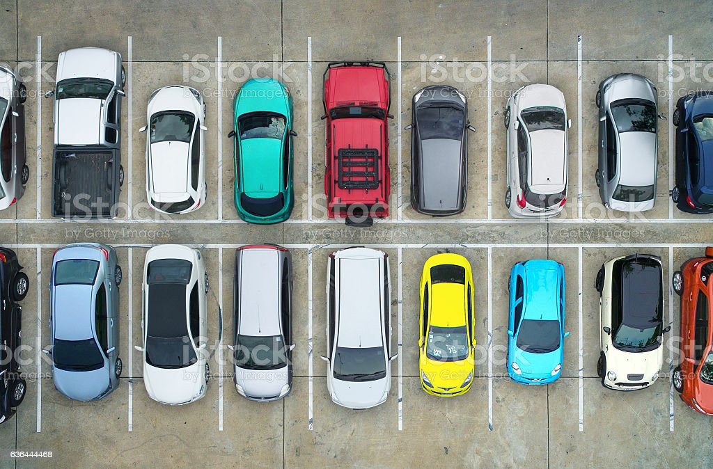 Empty parking lots, aerial view. stock photo