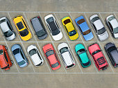 istock Empty parking lots, aerial view. 636444558