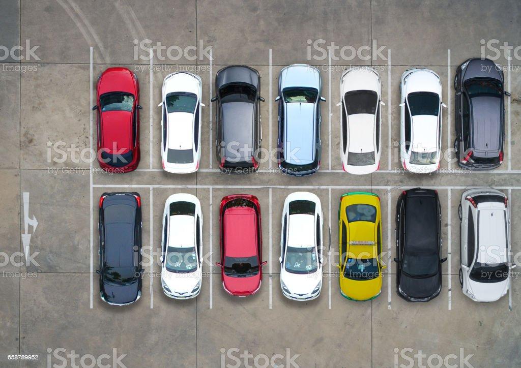 Vazio estacionamentos, vista aérea. - foto de acervo