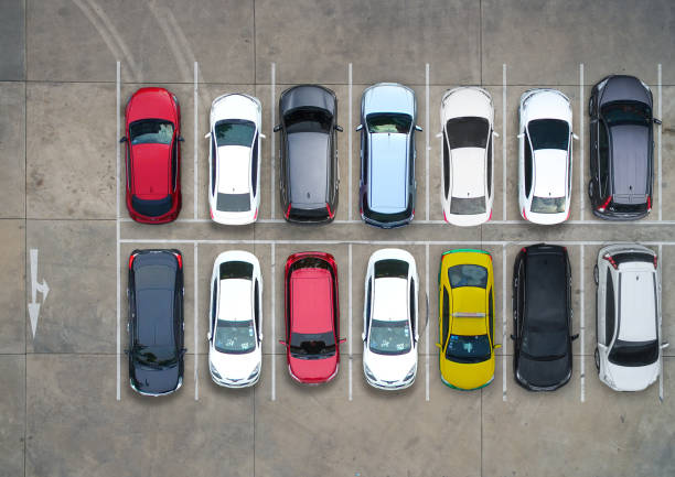 Empty parking lots, aerial view. - foto stock