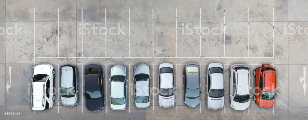 Leere Parkplätze, Luftaufnahme. – Foto