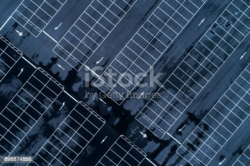 istock Empty parking lots, aerial view. 898874886