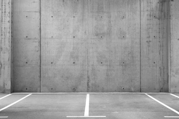 Empty Parking Lots in a Garage stock photo