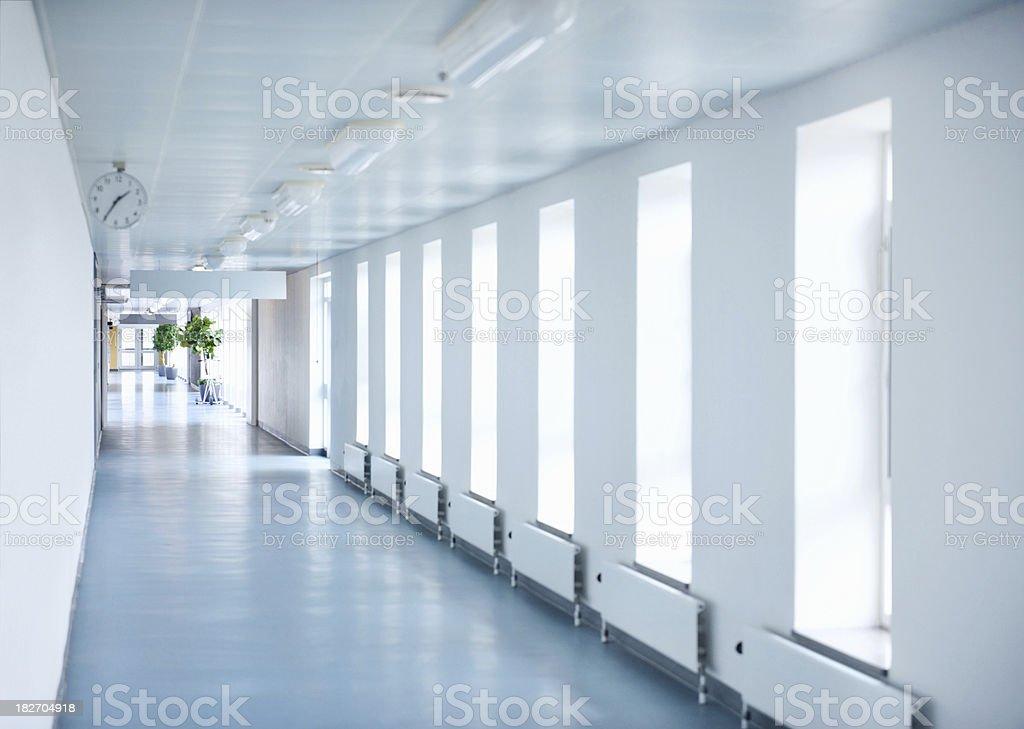 Empty passage way at hospital stock photo