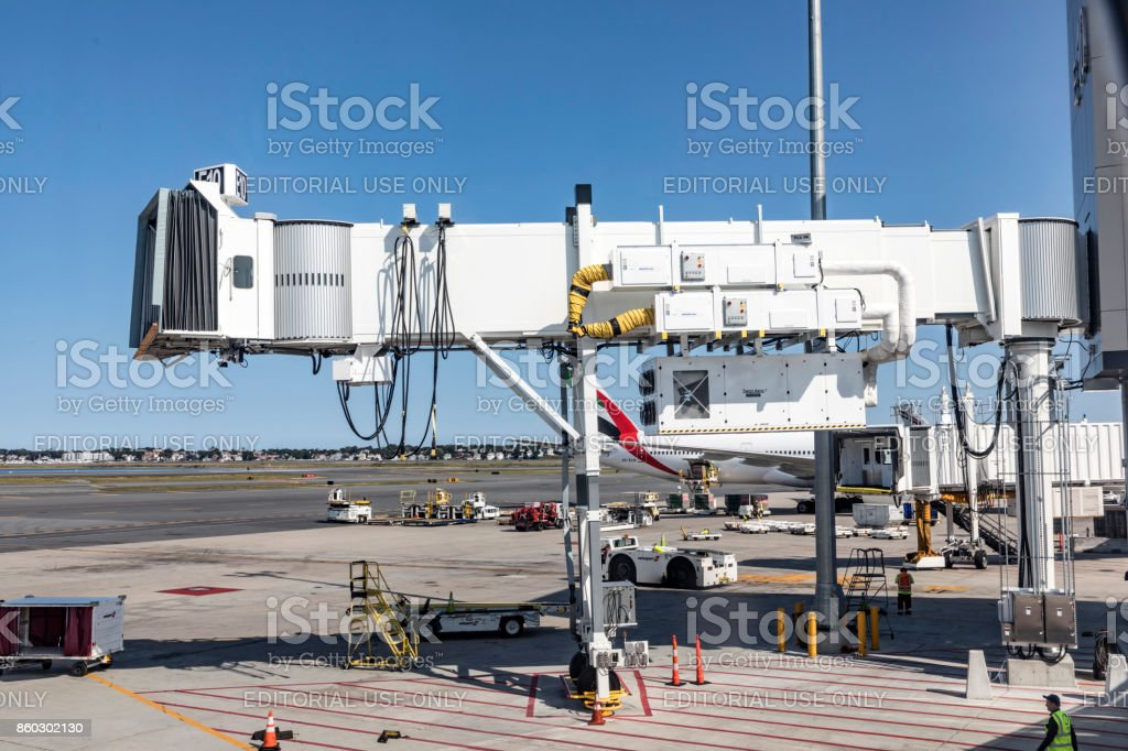 empty passenger bridge at Logan international airport in Boston stock photo
