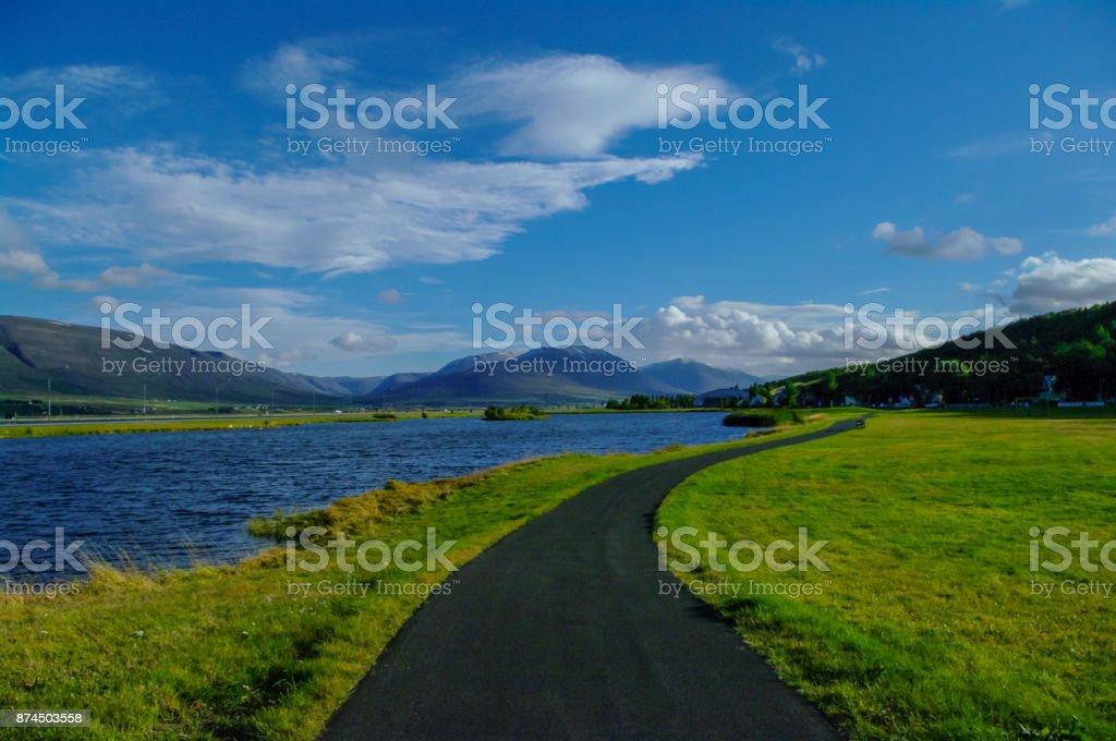 Empty pathway in Akureyri, Iceland stock photo