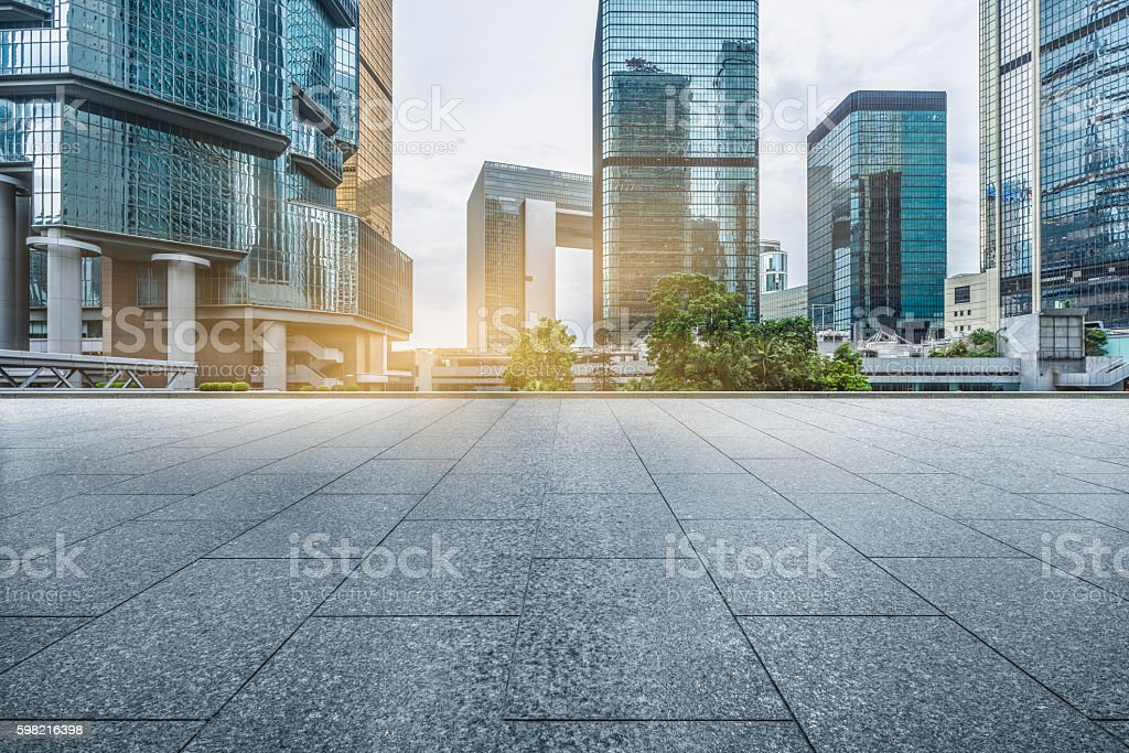 empty pavement front of central district of hong kong stock photo