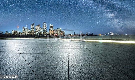 empty pavement front of sydney cityscape,Australia.
