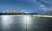 empty pavement front of sydney cityscape,Australia.
