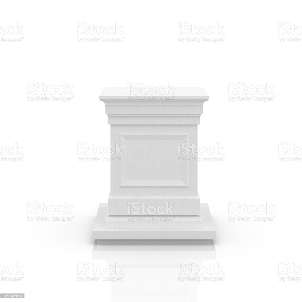 Empty pedestal in white on background stock photo