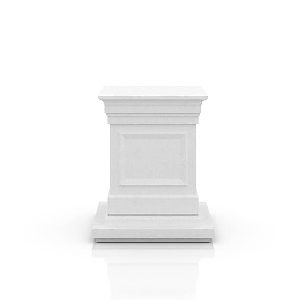 empty pedestal in white on background - piedestal bildbanksfoton och bilder