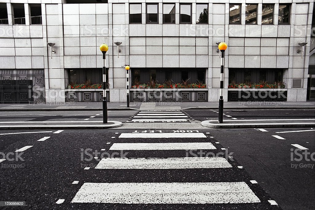 Empty pedestrian crossing in London City stock photo