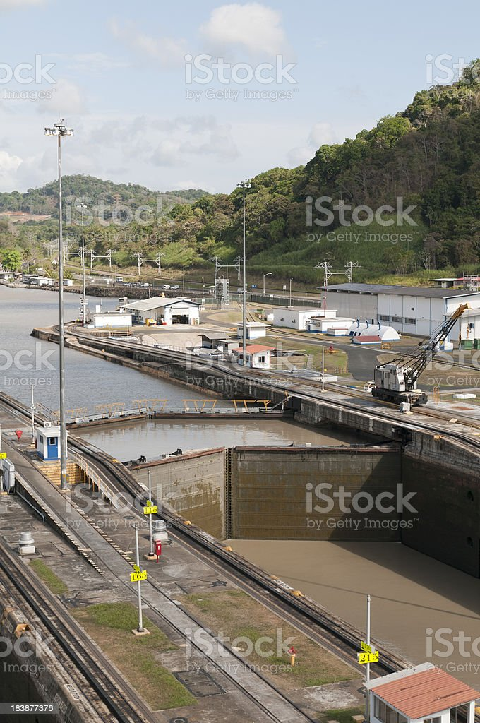 Empty Pedro Miguel lock filling with water stock photo